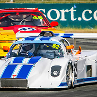 Peter McKenzie (62 - Ultra Sports) leads John Glasson (45 - Toyota Supra) onto the main straight at Wanneroo Raceway.