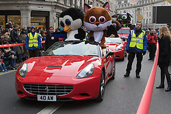 Regent Street, London, Novemeber 28th 2015. Celebrating its 255th birthday world famous toy retailer Hamleys Christmas Toy Parade brings festive fun to London's busy west end. Characters appearing includeBarbie and her pink Limo, Elmo & Phoebe, Furchester Hotel, Fireman Sam, Hello Kitty, Ice age Sid and Scrat, Miffy, Peppa Pig, The Gruffalo, Transformer Optimus Prime Truck and others.  //// FOR LICENCING CONTACT: paul@pauldaveycreative.co.uk TEL:+44 (0) 7966 016 296 or +44 (0) 20 8969 6875. ©2015 Paul R Davey. All rights reserved.