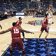 Nic Moore, SMU, shoots for three points during the Temple Vs SMU Semi Final game at the American Athletic Conference Men's College Basketball Championships 2015 at the XL Center, Hartford, Connecticut, USA. 14th March 2015. Photo Tim Clayton