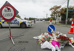 March 16, 2019 - Christchurch, Canterbury, New Zealand - Road leading to the Linwood mosque, where seven people were killed, is cordoned off by police. The public placed a makeshift flower memorial in the road. (Credit Image: © PJ Heller/ZUMA Wire)