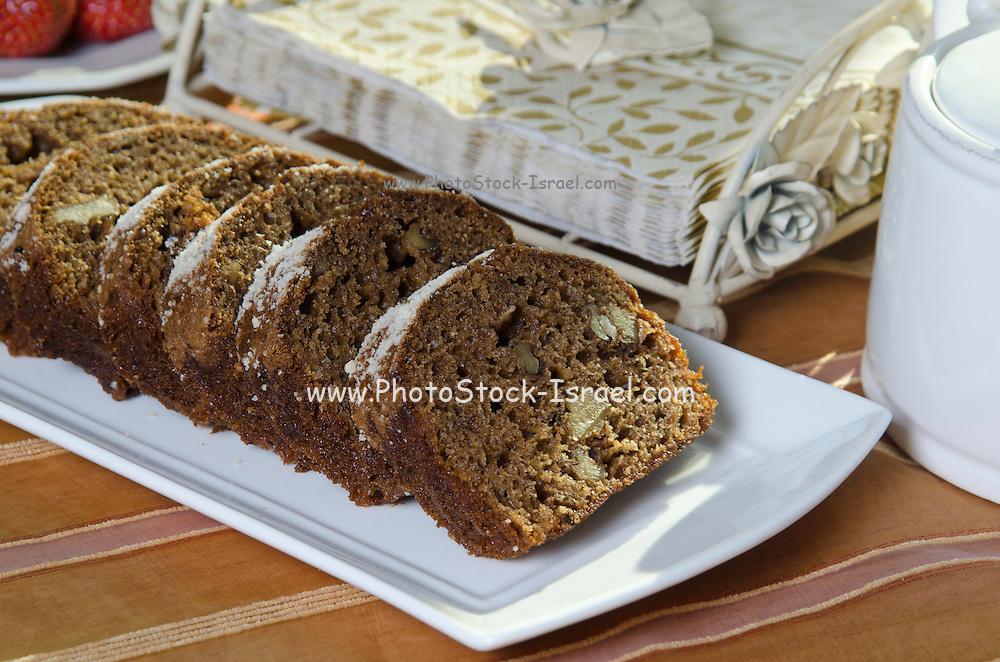 slices of freshly baked walnut cake