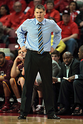 11 January 2014:  Porter Moser loses his jacket during the 2nd half during an NCAA  mens basketball game between the Ramblers of Loyola University and the Illinois State Redbirds  in Redbird Arena, Normal IL.  Redbirds win 59-50