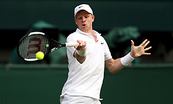 Kyle Edmund in action on day one of the Wimbledon Championships at the All England Lawn Tennis and Croquet Club, Wimbledon.