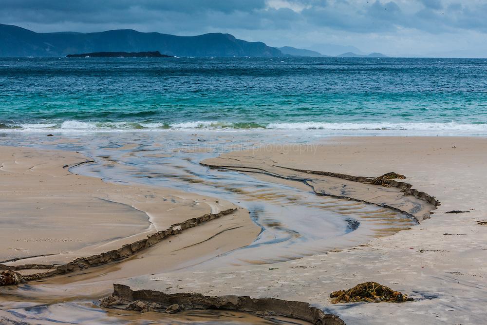 Stream cutting through beach to Keem Bay, Achill Island, County Mayo, Ireland