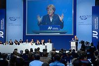 20 OCT 2007, BERLIN/GERMANY:<br /> Angela Merkel, CDU, Bundeskanzlerin, haelt eine Rede, Deutschlandtag der Jungen Union Deutschlands, Headquater der DaimlerChrysler Financial Services AG<br /> IMAGE: 20071020-01-031<br /> KEYWORDS: JU, Parteitag, Bundesparteitag, party congress, speech, Übersicht, uebersicht