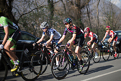 Alexis Ryan (Canyon//SRAM) rides at the end of the peloton in the first short lap of the Trofeo Alfredo Binda - a 123.3km road race from Gavirate to Cittiglio on March 20, 2016 in Varese, Italy.