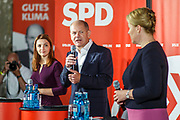 German Minister of Finance and SPD Chancellor candidate Olaf Scholz (C) delivers a speech next to SPD top candidate for the position of Berlin's Governing Mayor Franziska Giffey (R) during an elections campaign event in Berlin, Germany, September 03, 2021. The German Federal elections are scheduled to take place on September 26, 2021.