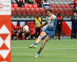 March 10, 2018 - Vancouver, British Columbia, U.S. - VANCOUVER, BC - MARCH 10: Jean Pascal Barraque (#10) of France converts after the try during Game # 3- Kenya vs France Pool C match at the Canada Sevens held March 10-11, 2018 in BC Place Stadium in Vancouver, BC. (Photo by Allan Hamilton/Icon Sportswire) (Credit Image: © Allan Hamilton/Icon SMI via ZUMA Press)