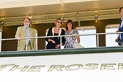 Left to right, VISCOUNT & VISCOUNTESS COWDRAY and LULU HUTLEY at the Jaeger-LeCoultre Gold Cup Polo Final held at Cowdray Park Polo Club, Midhurst, West Sussex on 19th July 2015