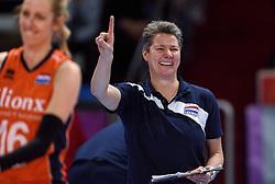 04-01-2016 TUR: European Olympic Qualification Tournament Nederland - Duitsland, Ankara <br /> De Nederlandse volleybalvrouwen hebben de eerste wedstrijd van het olympisch kwalificatietoernooi in Ankara niet kunnen winnen. Duitsland was met 3-2 te sterk (28-26, 22-25, 22-25, 25-20, 11-15) / Assistent Coach Saskia van Hintum