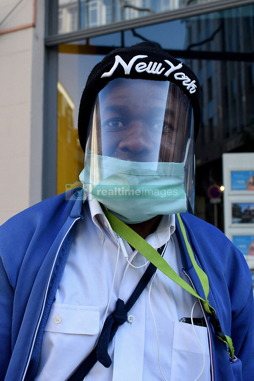 During the coronavirus crisis - covid 19, in the streets of Strasbourg, people walked around and protected themselves with different types and styles of masks, medical models or models made out of fabric.March-April, 2020, in Strasbourg Northeastern France. Photo by Nicolas Roses/ABACAPRESS.COM
