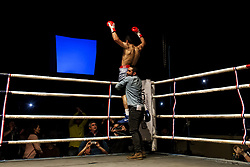 November 11, 2017 - Osorno, Chile - Osorno, Chile. 10 November 2017. The boxer Robinson Laviñanza celebrates his triumph. The Chilean champion of the category Super Gallo Robinson ''Ray'' Laviñanza defeated Ramón ''Toro'' Contreras by KO and retained his national title after nine emotional rounds, where both touched the canvas at some point in Osorno, Chile. (Credit Image: © Fernando Lavoz/NurPhoto via ZUMA Press)