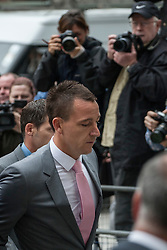 © licensed to London News Pictures. London, UK 09/07/2012. John Terry arriving to Westminster Magistrates Court this morning to face charges against for racial abusing Anton Ferdinand. Photo credit: Tolga Akmen/LNP