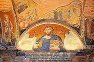 The 11th century Roman Byzantine Church of the Holy Saviour in Chora and its mosaic of Christ Pantocrator over the door leading to the second narex. Endowed between 1315-1321  by the powerful Byzantine statesman and humanist Theodore Metochites. Kariye Museum, Istanbul .<br /> <br /> If you prefer to buy from our ALAMY PHOTO LIBRARY  Collection visit : https://www.alamy.com/portfolio/paul-williams-funkystock/holy-saviour-chora-istanbul.html<br /> <br /> Visit our TURKEY PHOTO COLLECTIONS for more photos to download or buy as wall art prints https://funkystock.photoshelter.com/gallery-collection/3f-Pictures-of-Turkey-Turkey-Photos-Images-Fotos/C0000U.hJWkZxAbg