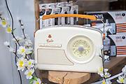 Electrical shop window display vintage retro style GPO Rydell Four Band radio, Devizes, Wiltshire, England, UK