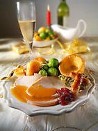 Roast turkey Yorkshire pudding and gravy stock photos