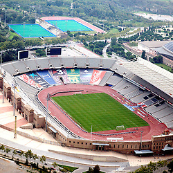Aerial view of <br /> L'Anella Olimpica, Barcelona's Olympic Stadiums