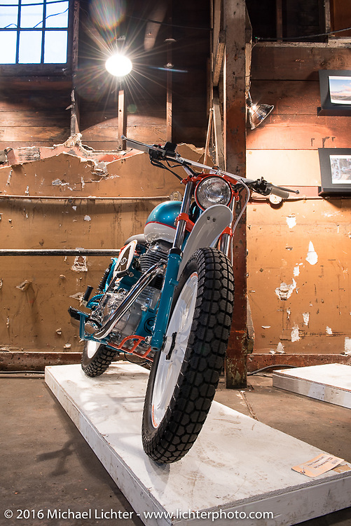Poler Outdoor Stuff See See built 2015 Royal Enfield Classic 500 at the One Show motorcycle show in Portland, OR. February 13, 2016. ©2016 Michael Lichter