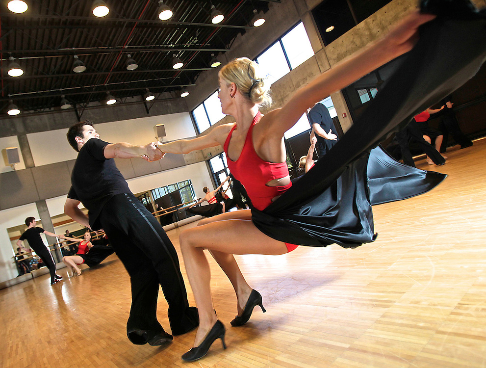 """members of the Utah Valley University ballroom dance team practice for a live appearance on the popular ABC show """"Dancing with the Stars"""" on Tuesday. The practice was held at UVU in Orem, Utah, Saturday, May 15, 2010 . August Miller, Deseret News ."""