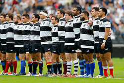 Barbarians replacement Kyle Traynor (Bristol Rugby) (5R) lines up during the anthems - Mandatory byline: Rogan Thomson/JMP - 07966 386802 - 29/08/2015 - RUGBY UNION - The Stadium at Queen Elizabeth Olympic Park - London, England - Barbarians v Samoa - International Friendly.
