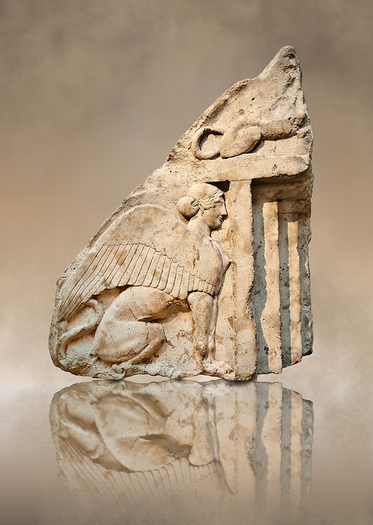 Guardian Sphinxes, part lion & part sphinx from the gable end of a vaulted Lycian sarcophagus from the Heros of the Acropolis (Building H Xanthos). The sphinx was linked to death and above each sphinx is a lion, a guardian of the dead.  From Xanthos, UNESCO World Heritage site, south west Turkey. A British Museum exhibit GR 1848-10-20-24-25 sculpture B 290. .<br /> <br /> If you prefer to buy from our ALAMY PHOTO LIBRARY  Collection visit : https://www.alamy.com/portfolio/paul-williams-funkystock/lycian-antiquities.html (TIP - Refine search by adding a suject or background colour as well).<br /> <br /> Visit our CLASSICAL WORLD HISTORIC SITES PHOTO COLLECTIONS for more photos to download or buy as wall art prints https://funkystock.photoshelter.com/gallery-collection/Classical-Era-Historic-Sites-Archaeological-Sites-Pictures-Images/C0000g4bSGiDL9rw