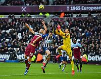 Football - 2019 / 2020 Premier League - West Ham United vs. Brighton & Hove Albion<br /> <br /> Brighton & Hove Albion's Mat Ryan battles for possession with West Ham United's Tomáš Sou?ek, at The London Stadium.<br /> <br /> COLORSPORT/ASHLEY WESTERN