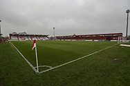 The Lamex Stadium, home of Stevenage during the EFL Sky Bet League 2 match between Stevenage and Forest Green Rovers at the Lamex Stadium, Stevenage, England on 26 December 2019.