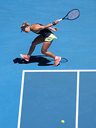 January 22, 2018 - Melbourne, Australia - ANGELIQUE KERBER of Germany hits a return during the women's singles fourth round match against Hsieh Su-wei of Chinese Taipei in the Australian Open 2018. Kerber won 2-1. (Credit Image: © Bai Xuefei/Xinhua via ZUMA Wire)