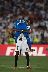 May 25, 2019 - Seville, Spain - Jaume Domenech and Geoffrey Kondogbia of Valencia celebrate victory after during the Spanish Copa del Rey match between Barcelona and Valencia at Estadio Benito Villamarin on May 25, 2019 in Seville. (Credit Image: © Jose Breton/NurPhoto via ZUMA Press)