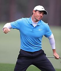 April 7, 2018 - Augusta, Georgia, U.S. - RORY MCLLROY celebrates his eagle on the 8th hole during the third round of the Masters Tournament on Saturday, at Augusta National Golf Club. (Credit Image: © Curtis Compton/TNS via ZUMA Wire)