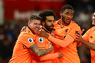 Mohamed Salah of Liverpool (c) celebrates with teammates after scoring his teams 2nd goal. Premier league match, Stoke City v Liverpool at the Bet365 Stadium in Stoke on Trent, Staffs on Wednesday 29th November 2017.<br /> pic by Chris Stading, Andrew Orchard sports photography.