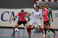 Craig McCleish of Scotland holds off Russell Golstein of England. . England v Scotland match, Home nations Futsal tournament at the Cardiff city House of Sport in Cardiff, South Wales on Friday 2nd December 2016. This inaugural tournament played over 3 days brings together teams from Wales, England, Scotland and Northern Ireland. <br /> pic by Andrew Orchard, Andrew Orchard sports photography.
