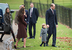 Prince William, Duke of Cambridge, Prince George of Cambridge, Catherine, Duchess of Cambridge, Princess Charlotte of Cambridge and Pippa Middleton attend a Christmas Day service at St. Marks Church in Englefield on December 25, 2016.