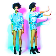 Double Denim fashion shoot, photographer Mike White, Chicago Illinois at photo studio in Avondale