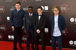Left to right, William Ahern (Actor), Malachi Hallett (Actor) Lorenzo Allchurch (Actor) Louis Suc (Actor), on the red carpet at the 2016 Edinburgh International Film Festival, WORLD PREMIERE of The White King at Cineworld, Edinburgh18th June 2016, (c) Brian Anderson | Edinburgh Elite media