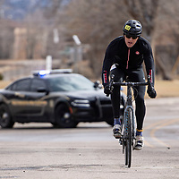 Timon Fish of Albuquerque finished in first place for the men's top overall solo winner at the Mt. Taylor Winter Quadrathlon, Saturday, Feb. 16 in Grants.