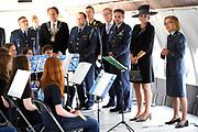 """Koningin Maxima bezoekt muziekproject 'Young Musicians Spread Their Wings'  voor jeugd van Koninklijke Luchtmach op vliegbasis Eindhoven. <br /> <br /> Queen Maxima visits musical project """"Young Musicians Spread Their Wings' youth of Royal Air Mach at Eindhoven Air Base.<br /> <br /> Op de foto / On the photo:  Koning Maxima bij een workshop 'fluiten' in DC-10 transportvliegtuig / King Maxima at a workshop 'whistle' in DC-10 transport aircraft"""