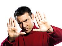 caucasian man Finger Frame gesture studio portrait on isolated white backgound
