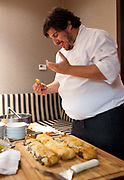 Chef explaining the dishes to be served, at the One Table with Hernán Gipponi at the HG restaurant in the Fierro Hotel in Palermo, Buenos Aires, Federal District, Argentina.