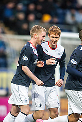 Falkirk's Craig Sibbald celebrates with team mate Jay Fulton after scoring their first goal.<br /> Falkirk 3 v 1 Raith Rovers, Scottish Championship game at The Falkirk Stadium.
