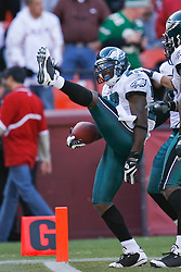 12 Oct 2008: Philadelphia Eagles SS Quintin Mikell #27 celebrates after a play during the game against the San Francisco 49ers on October 12th, 2008. The Eagles won 40-26 at Candlestick Park in San Francisco, California. (Photo by Brian Garfinkel) (Photo by Brian Garfinkel)