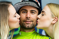 Diego Ulissi (ITA) of UAE Team Emirates kissed Hostess Eugenija Janjos and Nusa Setnicar as leading in Overall classification at trophy ceremony after the 4th Stage of 26th Tour of Slovenia 2019 cycling race between Nova Gorica and Ajdovscina (153,9 km), on June 22, 2019 in Slovenia. Photo by Vid Ponikvar / Sportida