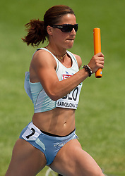 Urska Klemen competes as a fourth Slovenia athlete during  the 4x400m Womens Relay Heats during day five of the 20th European Athletics Championships at the Olympic Stadium on July 31, 2010 in Barcelona, Spain.  (Photo by Vid Ponikvar / Sportida)