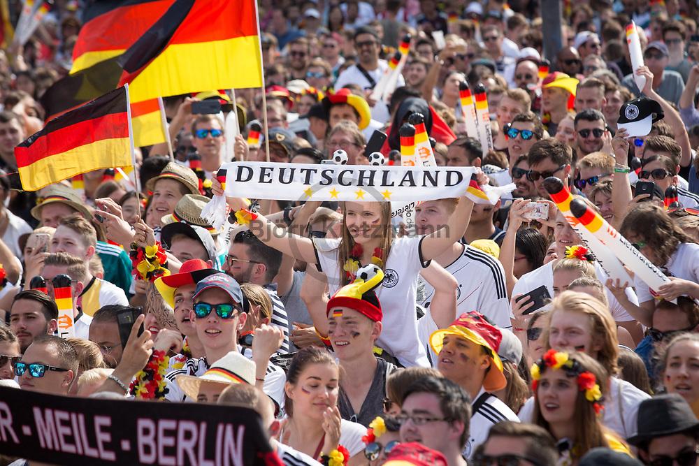 Berlin, Germany - 17.06.2018<br /> <br /> Fans follow the preliminary round match between Germany and Mexico (0:1) on Berlin's fan mile at the Brandenburg Gate for the 2018 Football World Cup.<br /> <br /> Fans verfolgen auf Berliner Fanmeile zur Fussball-Weltmeisterschaft 2018 am Brandenburger Tor das Vorrundenspiel Deutschland gegen Mexiko (0:1).<br /> <br /> Photo: Bjoern Kietzmann