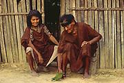 Machiguenga Indians<br />Timpia Community, Lower Urubamba River<br />Amazon Rain Forest, PERU.  South America<br />Wearing traditional Dress