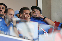 (L-R) Diego Armando Maradona with sigar during the Dutch Eredivisie match between PSV Eindhoven and AZ Alkmaar at the Phillips stadium on August 12, 2017 in Eindhoven, The Netherlands