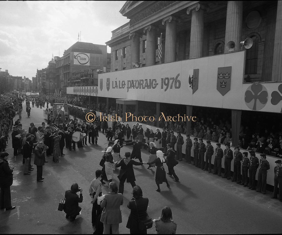 St Patricks day Parade, Dublin .17/03/1976.03/17/1976.17th March 1976.Dancers in costume and Musicians perform in front of the grandstand GPO, O'Connell Street.