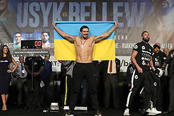 Oleksandr Usyk during the weigh in at Manchester Central.