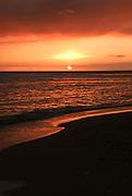 A beautiful sunset from Waikiki Beach in Hawaii.