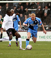 Photo: Mark Stephenson/Richard Lane Photography. <br /> Hereford United v Wycombe Wanderers. Coca-Cola League Two. 15/03/2008. Wycombe's Gary Holt (R) tries to go past Toumani Diagouraga